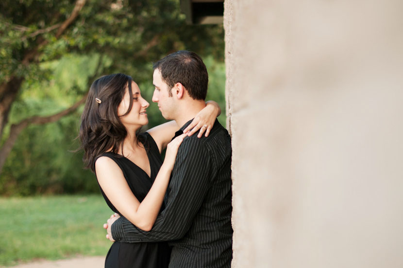 Wall hug during Austin engagement session