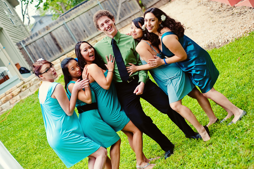 awesome energy groom bridesmaids austin wedding photography