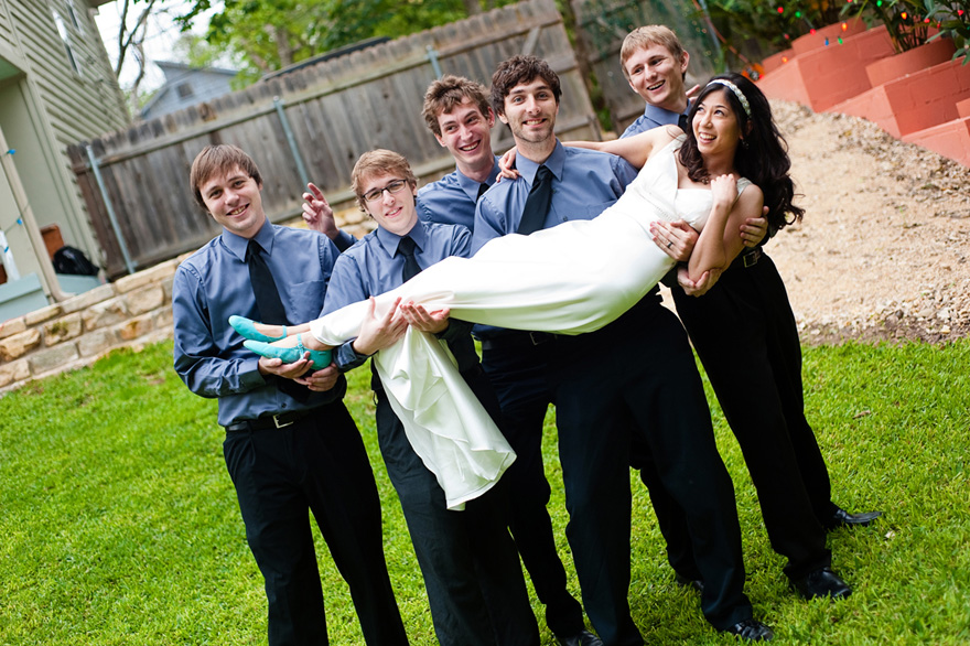 jovial bride groomsmen austin wedding photography