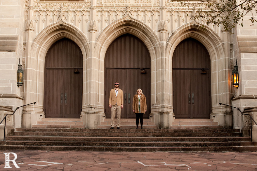 couple standing in front of church houston texas museum district