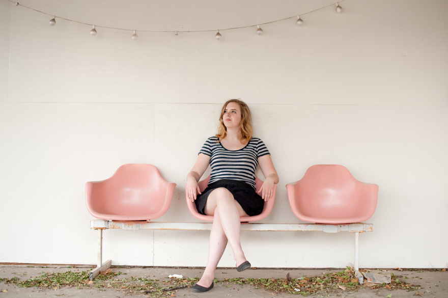 austin portrait session with pink chairs