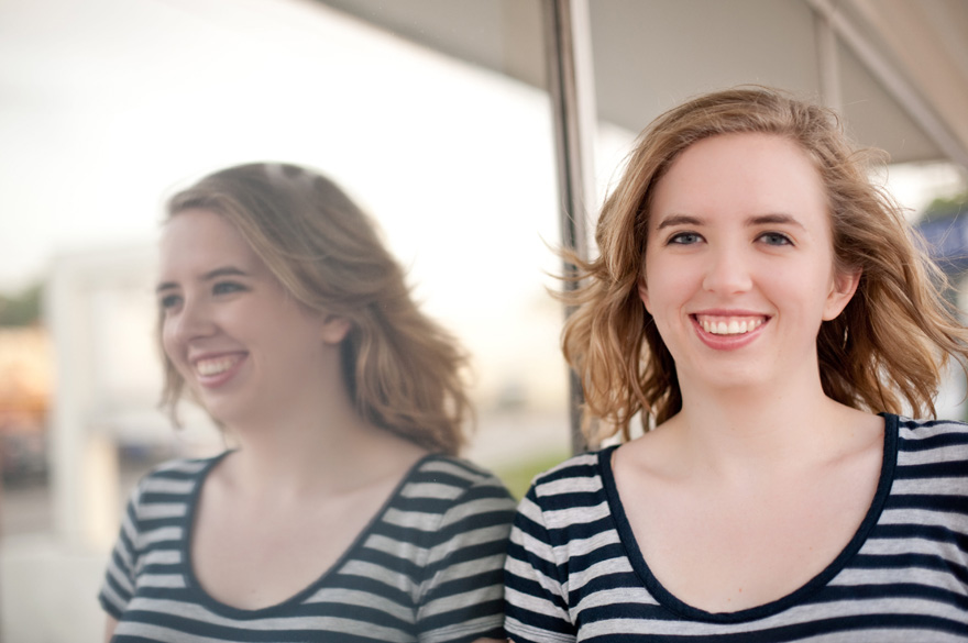 using reflective surfaces in college senior photographs