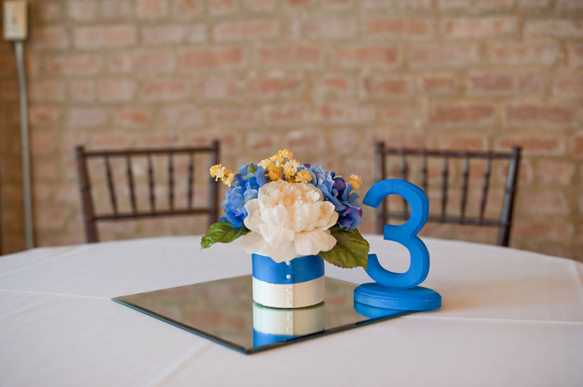 homemade wedding centerpieces ribbon silk flowers wooden numbers