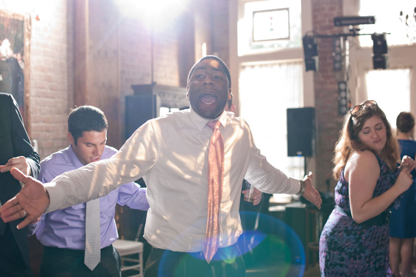 energetic wedding crowd gets into the spirit of things