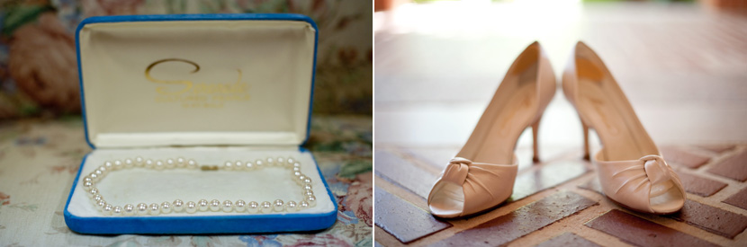 something borrowed pearls shoes wedding photography
