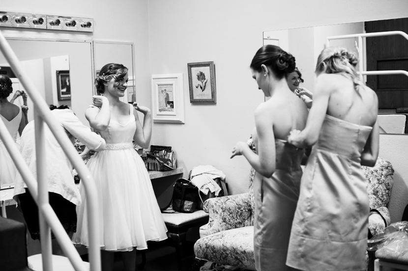 bride getting ready in church dressing room houston wedding