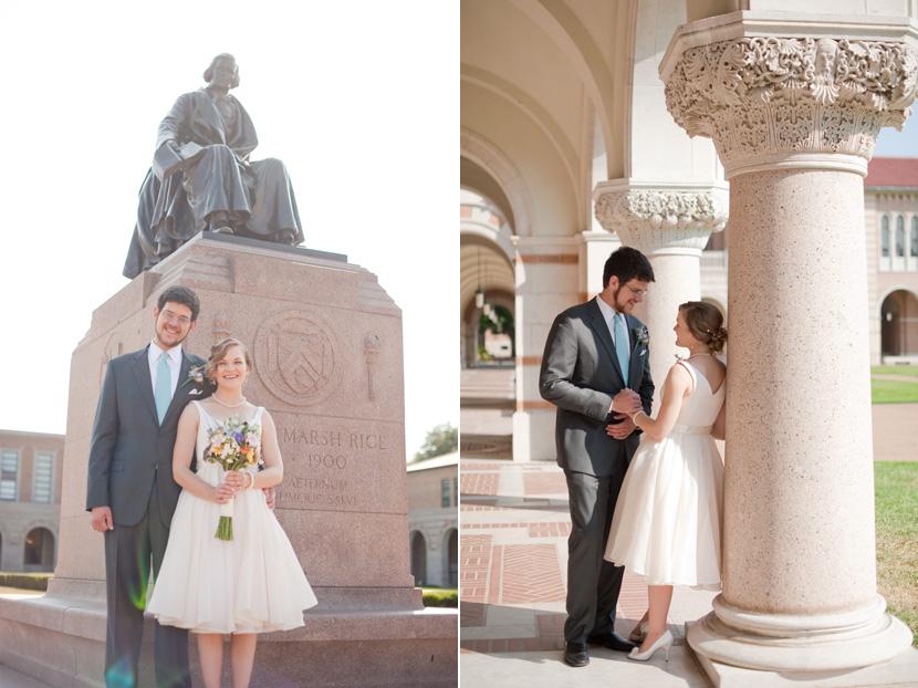 rice university campus willie statue bride groom photographs