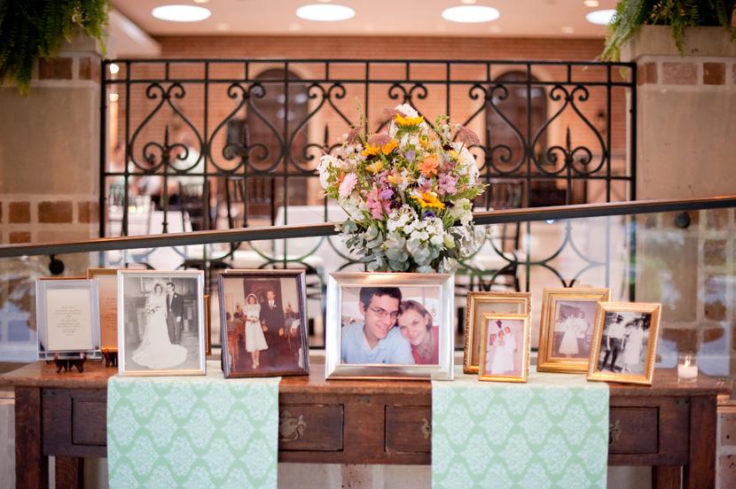 entrance table at cohen house rice university wedding