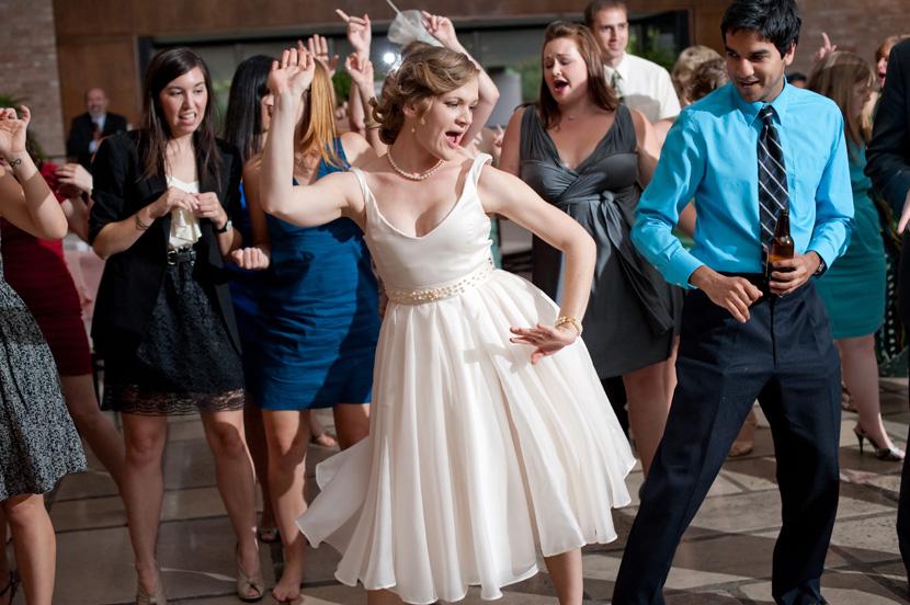 bride dances at her wedding reception