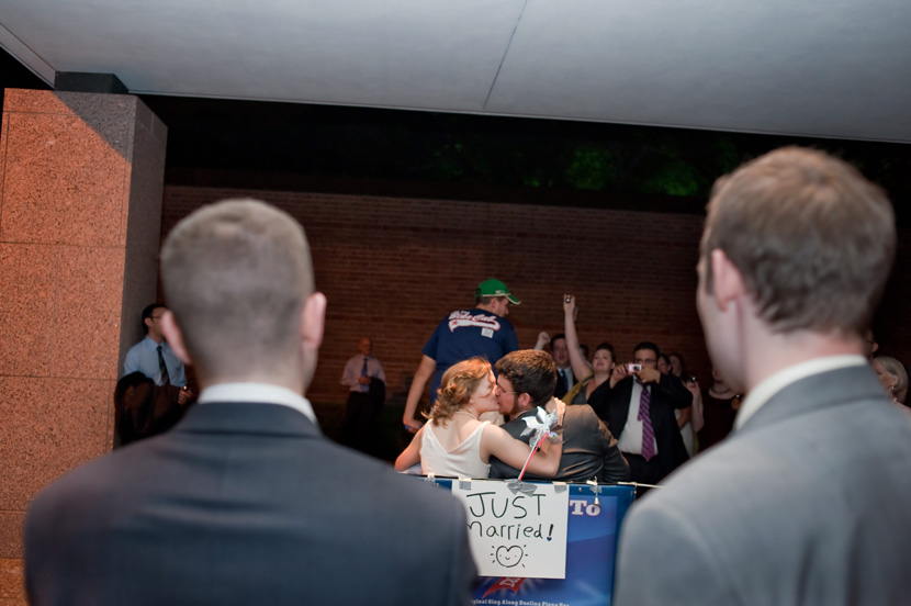 pedicab send-off for bride groom wedding couple