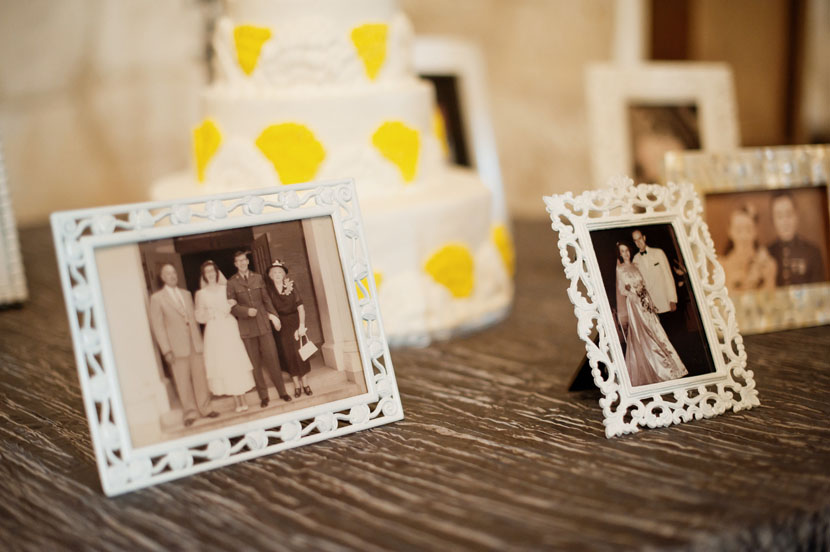incorporating family photos during a wedding reception