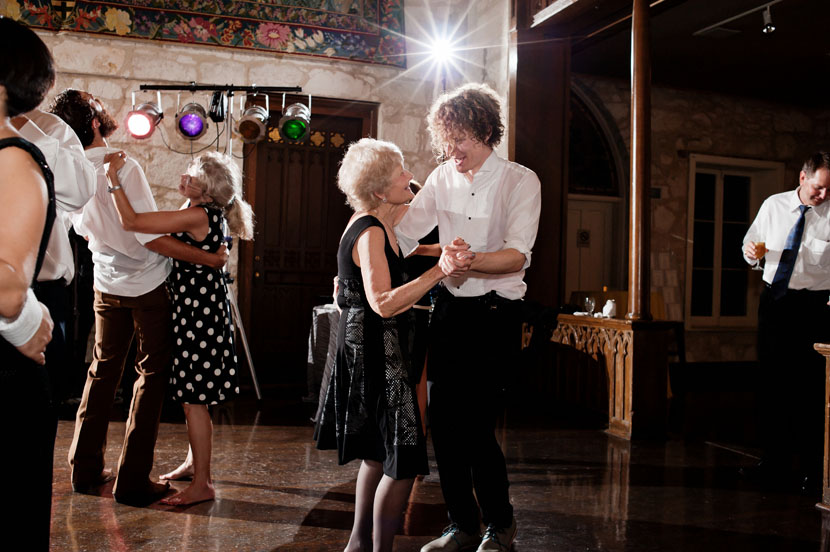 grandmother dancing during wedding reception