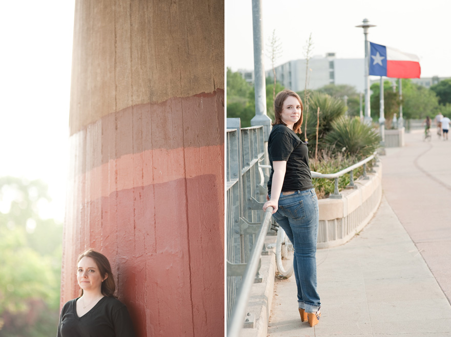 pfluger pedestrian bridge austin texas flag senior grad session