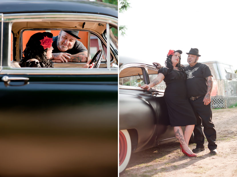rockabilly engagement session with a classic chevrolet car