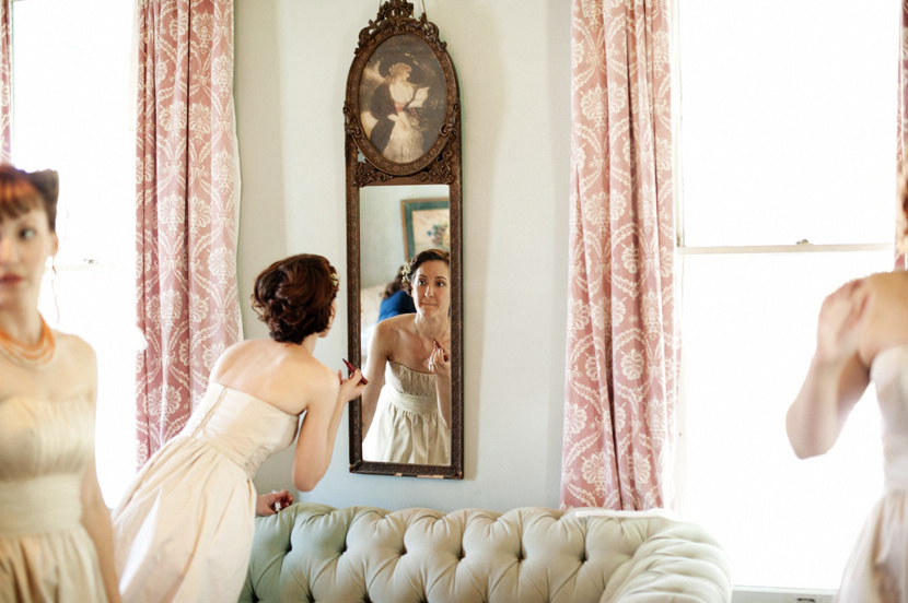 bridesmaids getting ready before wedding ceremony