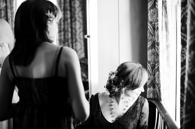black and white moody wedding photo