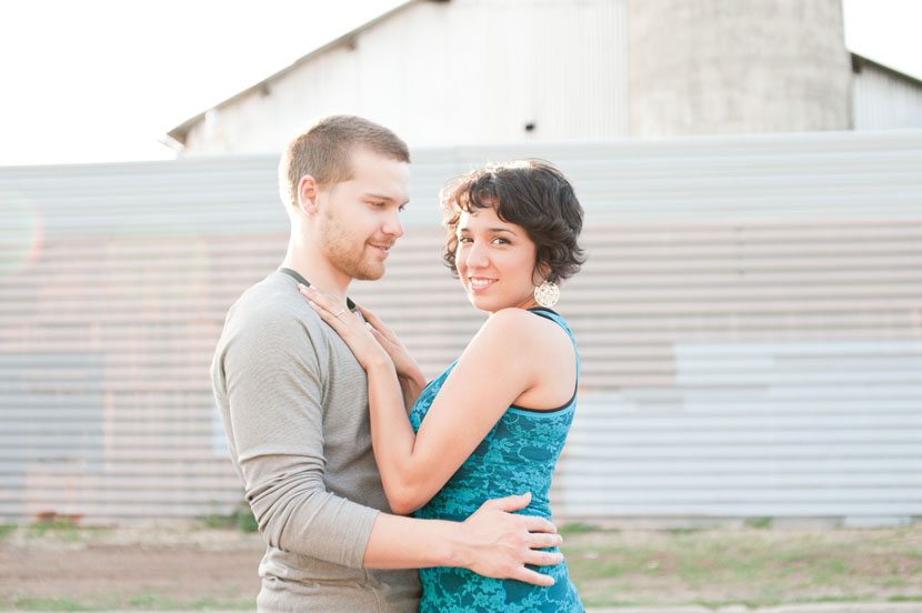 austin engagement photographer scrap metal yard