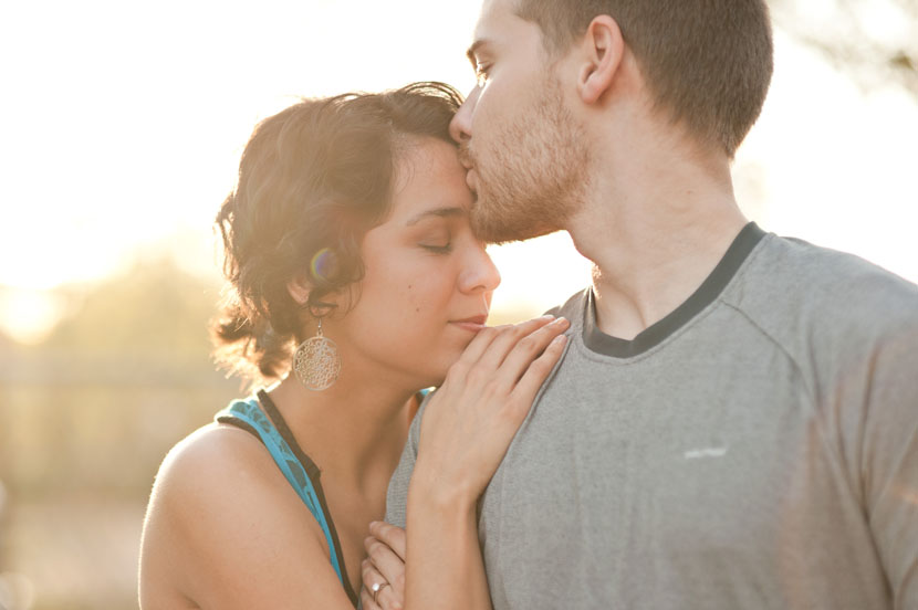 engagement photo forehead kiss