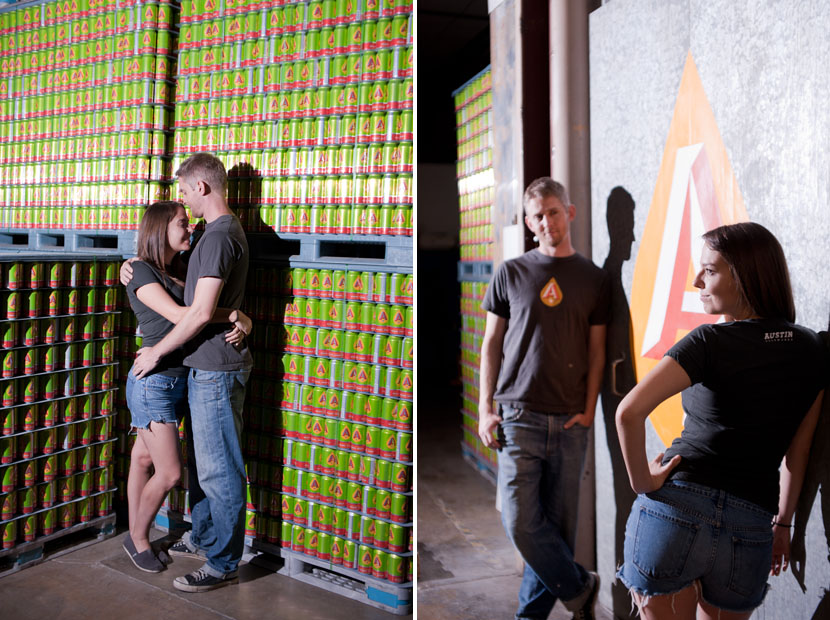 austin engagement session in a beer brewery