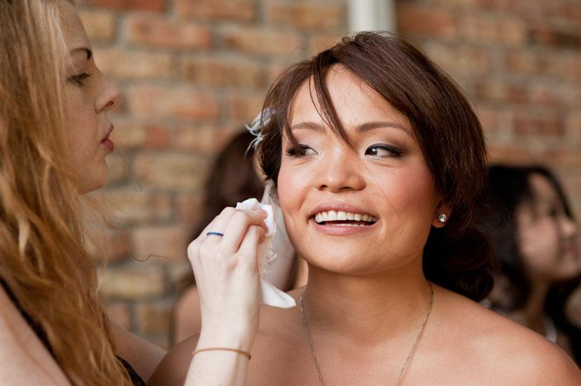 bride wiping away tear austin weddings