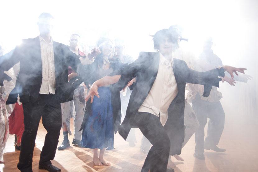 wedding party performs thriller dance