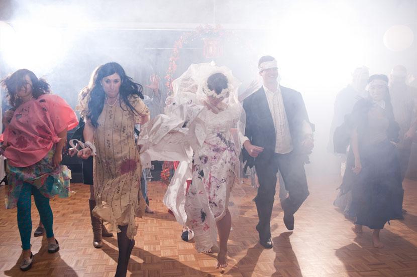 wedding party performs thriller dance halloween themed wedding