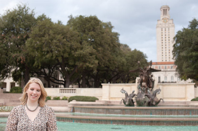 Littlefield Fountain shot of a UT grad session