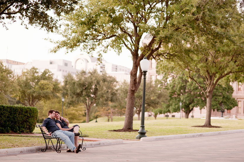 engagement session on capitol park bench