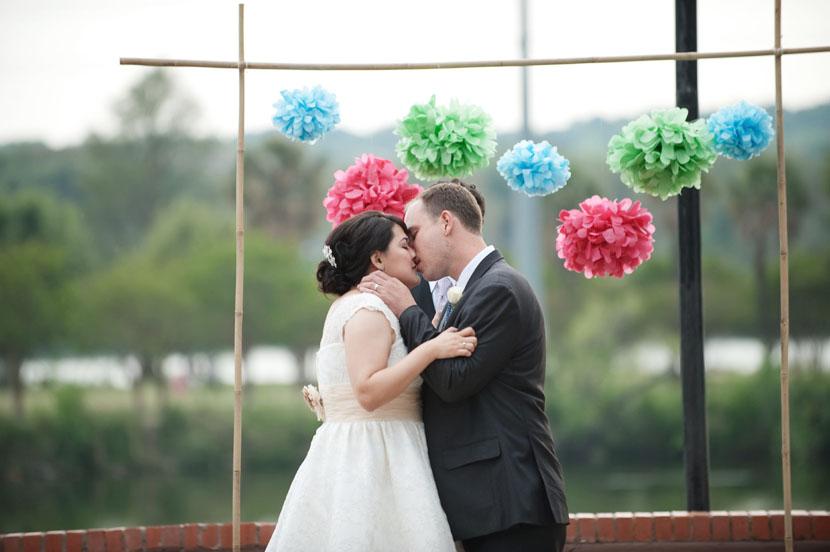 fiesta gardens austin ceremony kiss