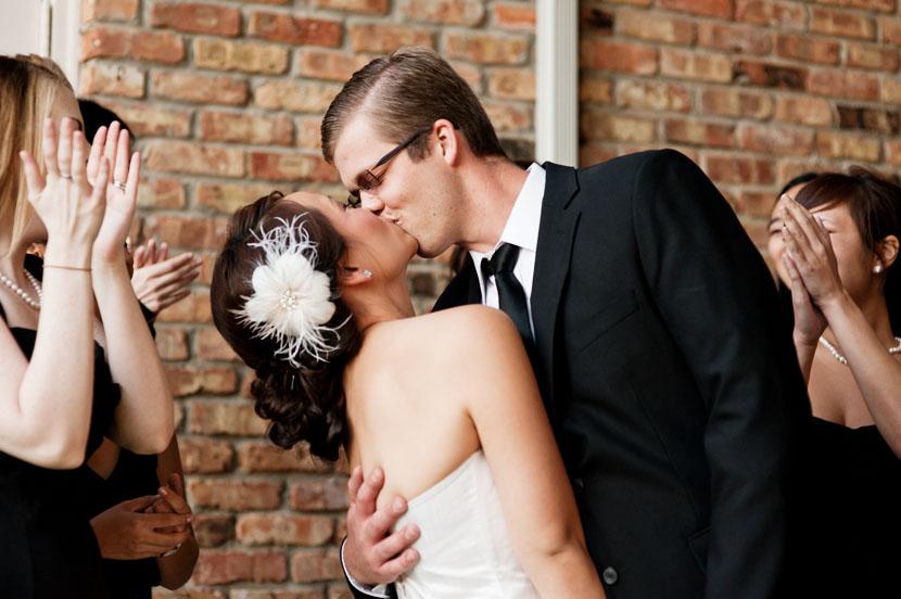 post ceremony kiss bride groom