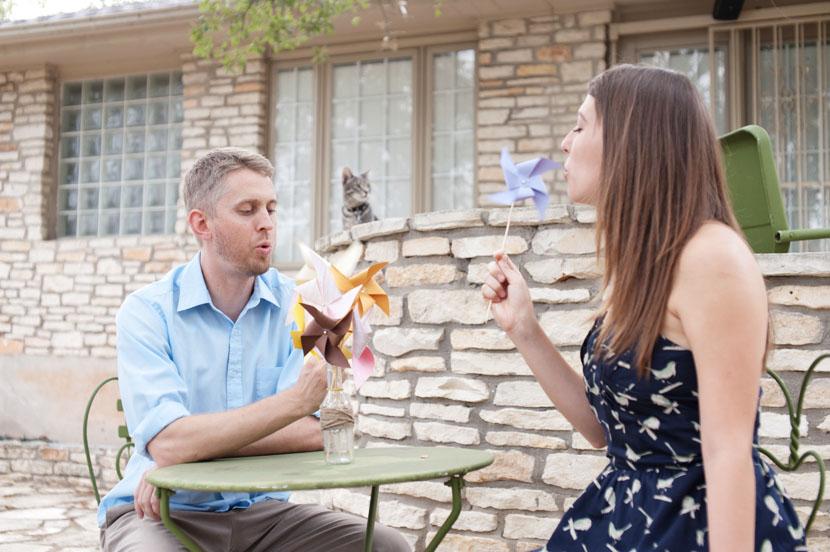 austin couple with pinwheels