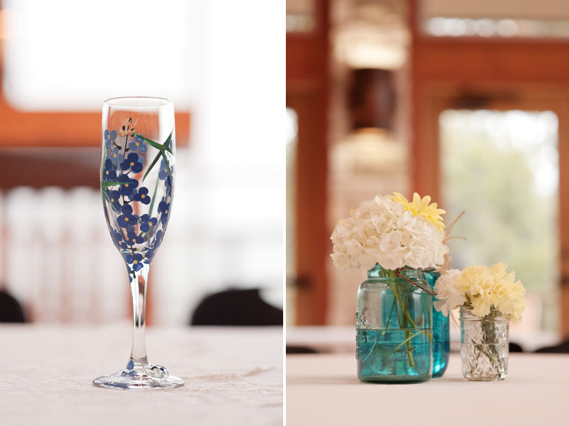 diy wedding flowers and wineglass