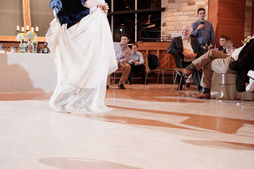 unbustled wedding dress on the dance floor