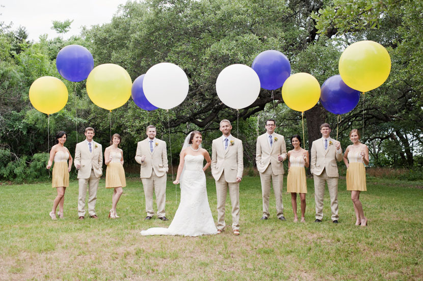 bridesmaids groomsmen with balloons