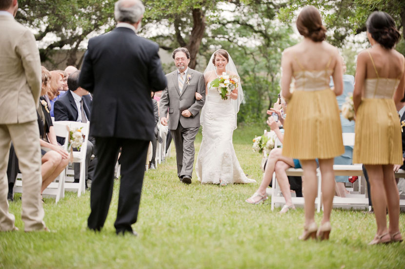 bride and father in grass wedding aisle