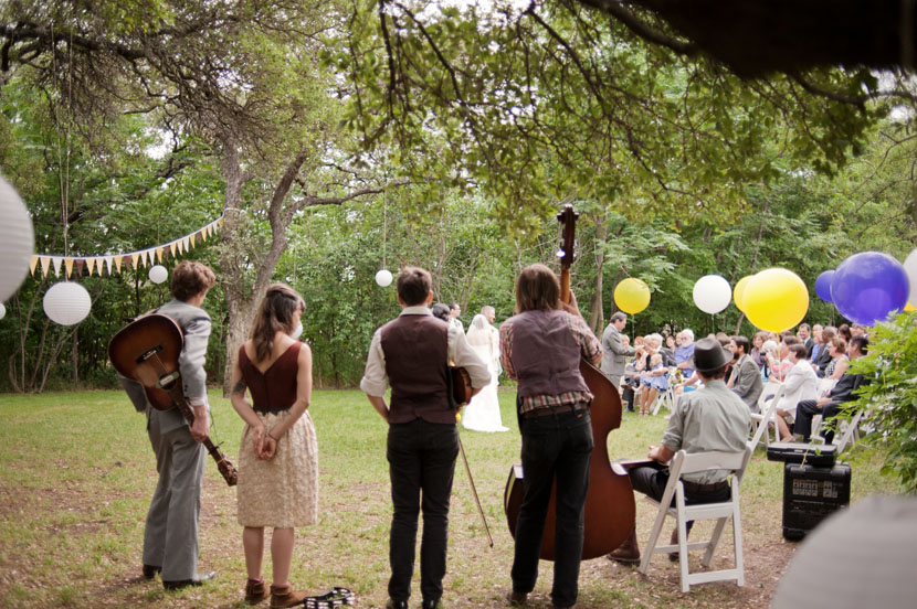 wedding band during outdoor austin ceremony