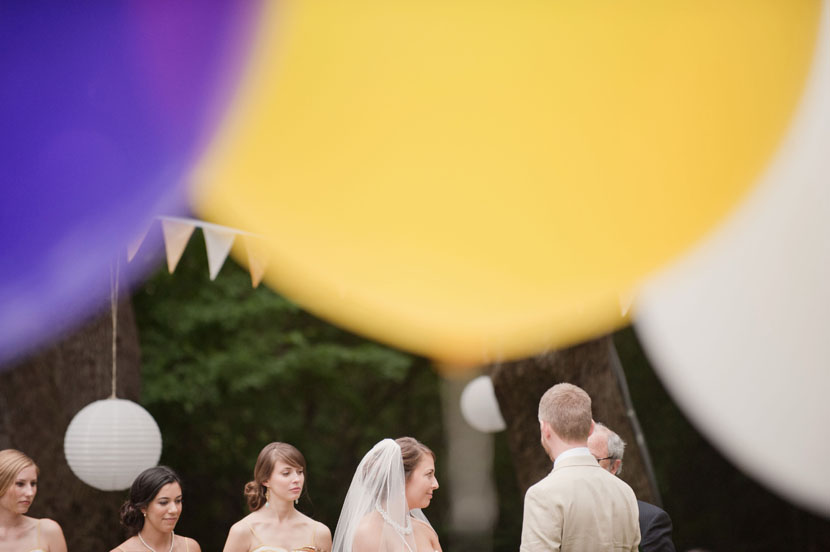 purple and yellow wedding accents