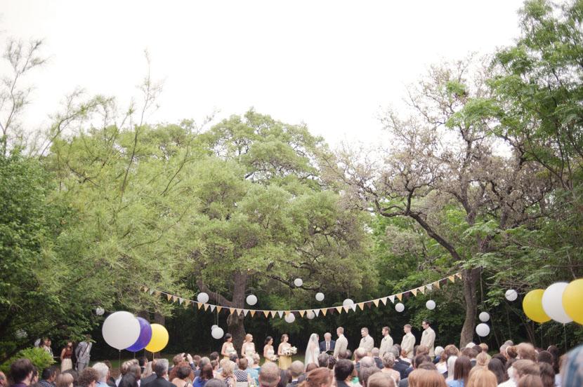 wide shot of mercury hall outdoor ceremony