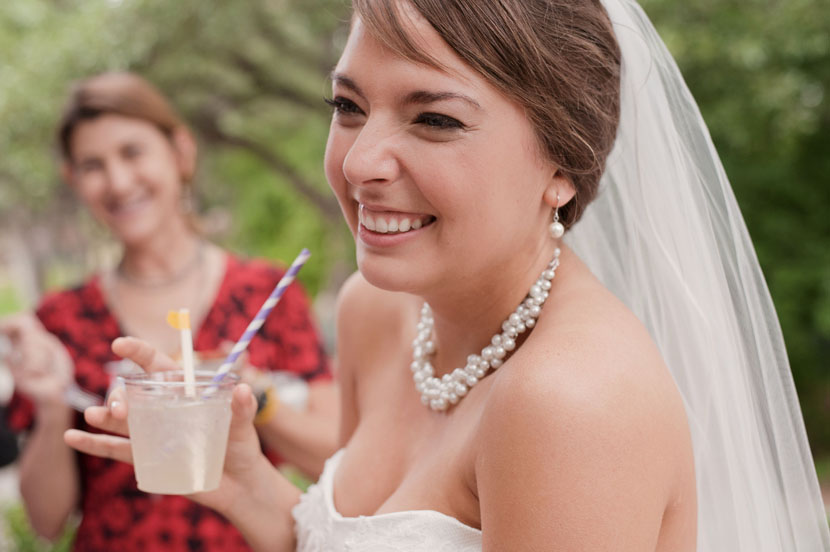 bride with a refreshment