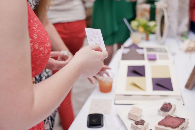 pocket envelopes and inkstamps for wedding guestbook