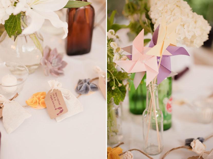 bottles and pinwheel wedding centerpiece