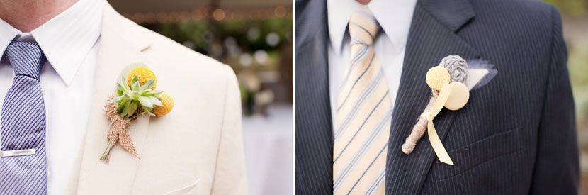 boutonnieres and pastel ties