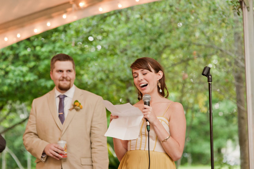 bridesmaid gives wedding toast