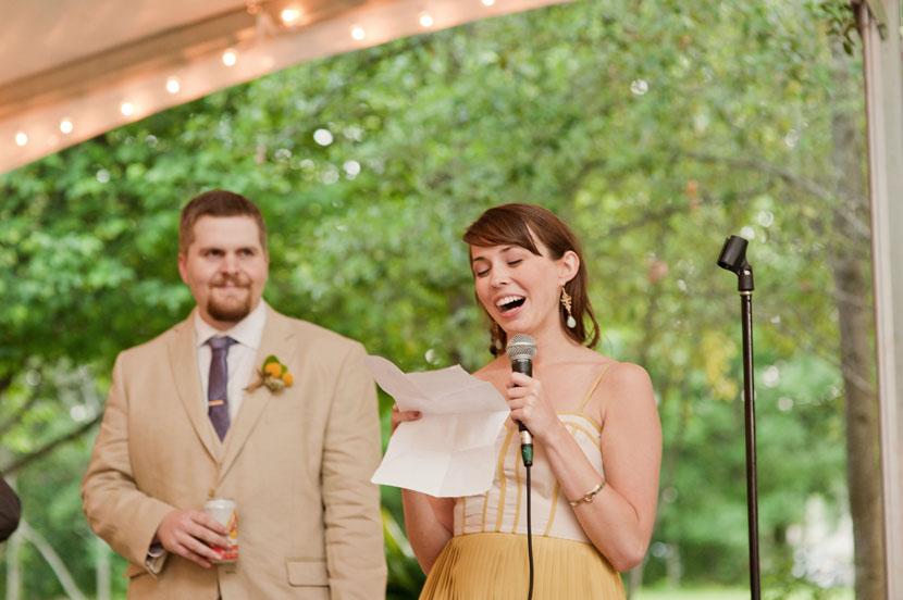 bridesmaid gives wedding toast
