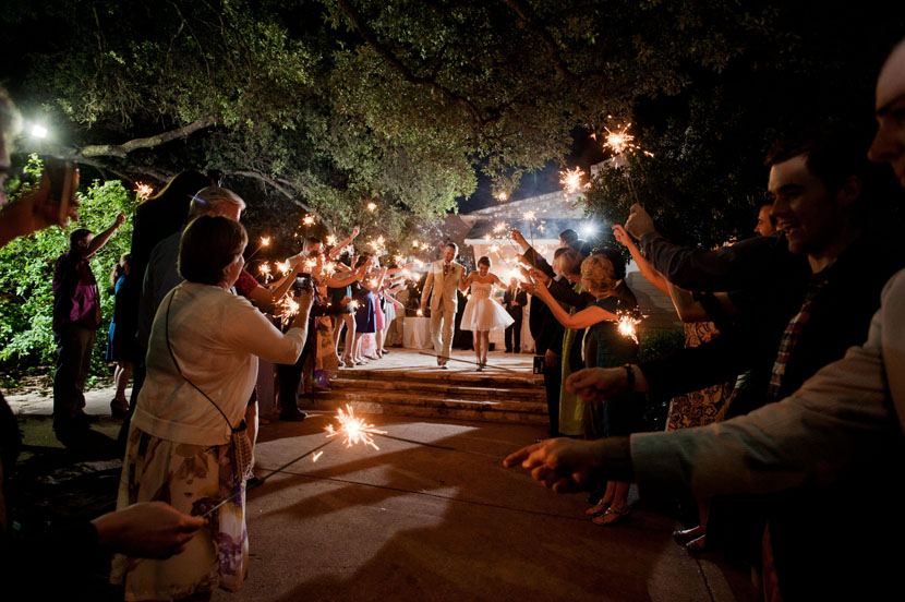 bride groom exit amid sparklers