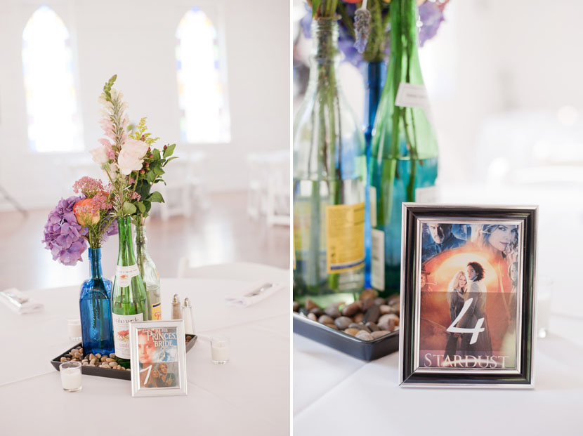 wedding centerpieces with movie details