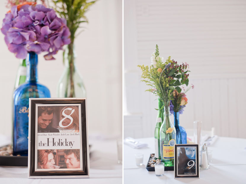 wedding table centerpieces with movie posters ideas