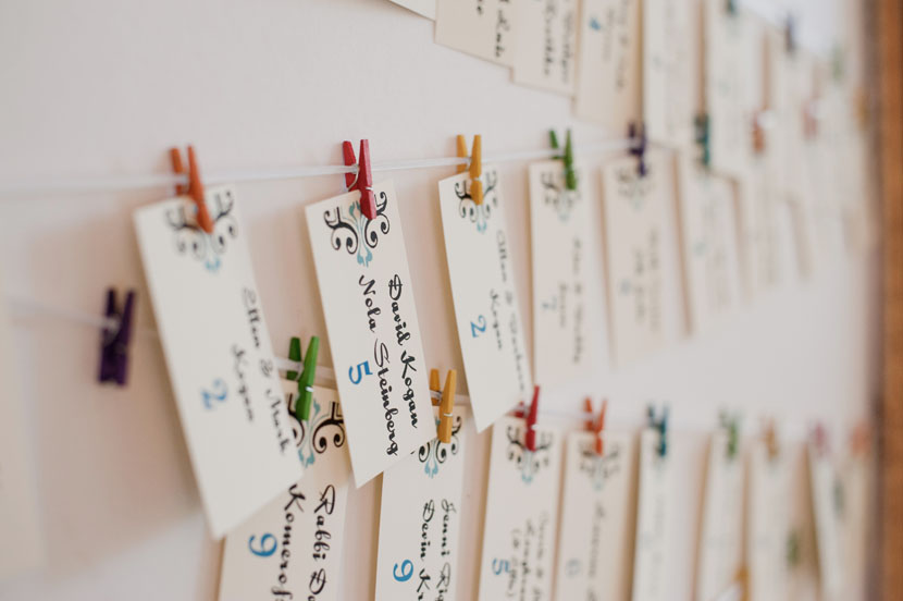 diy seating chart with clothes pins