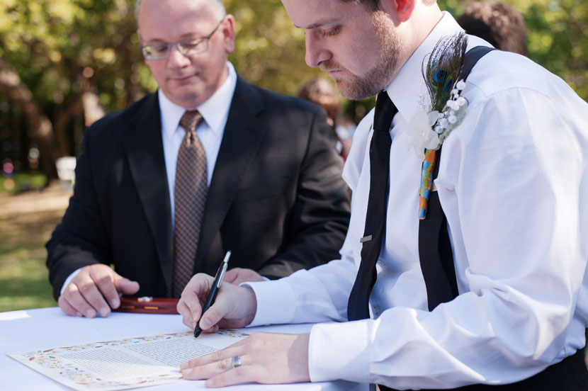 signing the ketubah marriage contract mercury hall