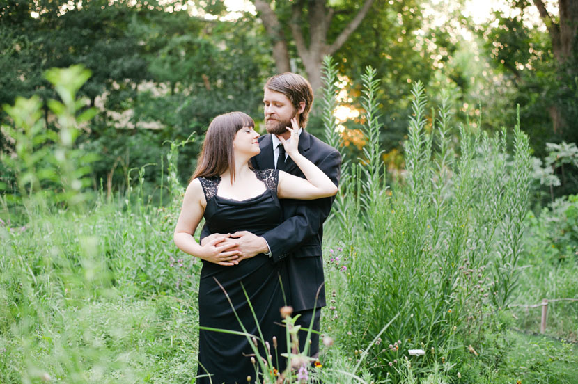 couple embraces for anniversary photos